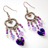 Purple Electronics and Crystal Heart Chandelier Earrings - Sparkly Resistor Jewelry