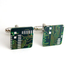 Circuit Board Cufflinks — Green, Square