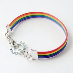 Rainbow Ribbon Cable and Gear Steampunk Bracelet
