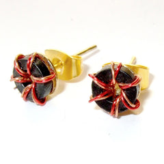 CLEARANCE Electronics Post Earrings — Black Wire Wrapped Toroids