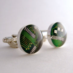 Circuit Board Cufflinks — Green, Round Domed