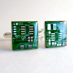 Circuit Board Cufflinks — Emerald Green, Square Domed