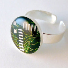 Circuit Board Ring — Green, Round Domed