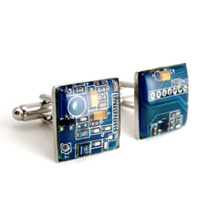 Circuit Board Cufflinks — Blue, Square Domed