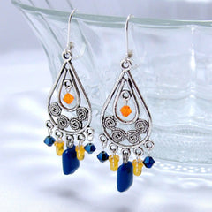 Electronics Chandelier Earrings - Silver, Orange, and Blue