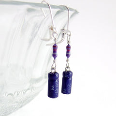 Lucky Capacitor and Resistor Earrings — Purple Electronics