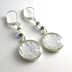 Circuit Design and Crystal Earrings — Domed Silver and White Dangles — Modern Elegance