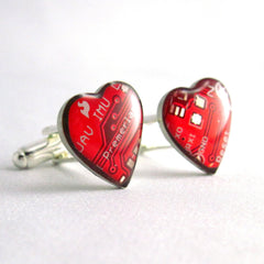 CLEARANCE Circuit Board Cufflinks — Domed Red Hearts — For Big-Hearted Geeks