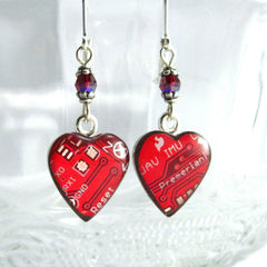 Circuit Board Earrings — Domed Red Hearts — Gorgeous Tech Gift