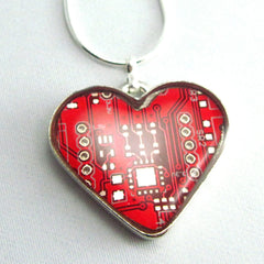 Circuit Board Necklace — Domed Red Heart — Epic Valentine's or Mother's Day Gift