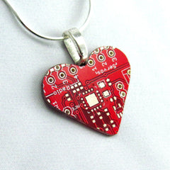 Circuit Board Necklace — Red Heart — for Geeky Mothers and Sweethearts
