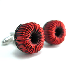 CLEARANCE Electronics Cufflinks — Red Wire Toroids