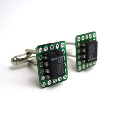 Microchip Circuit Board Cuff Links — Black