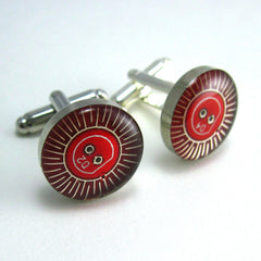 CLEARANCE Circuit Board Cufflinks — Red, Round Roulette Pattern