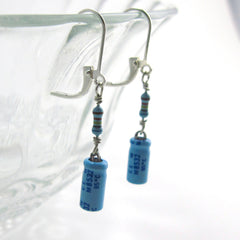 Lucky Capacitor and Resistor Earrings — Sky Blue Electronics