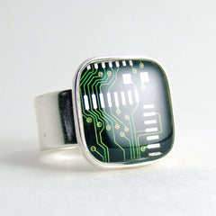 Circuit Board Ring — Green, Square Domed — Geek Bling