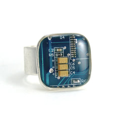Circuit Board Ring — Blue, Square Domed — Techno Chic Jewelry