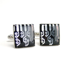 Circuit Design Cufflinks — Black and Silver, Square Domed — Fashionable Techno Accessories