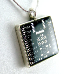 Circuit Board Necklace — Black, Square Domed — Sophisticated techie jewelry