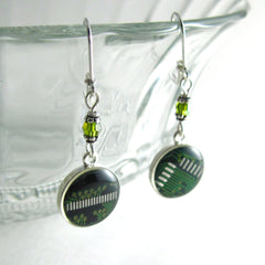Circuit Board and Crystal Earrings — Domed Green Dangles — Geek Chic Jewelry