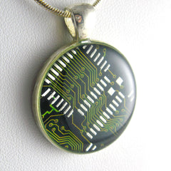 Circuit Board Necklace — Green, Round Domed — Techno Accessory