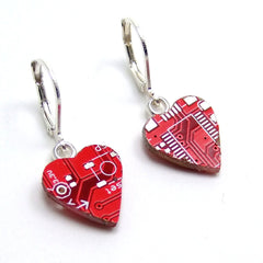 Circuit Board Earrings — Red Hearts — for your Techie Princess