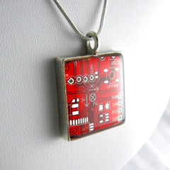 Circuit Board Necklace — Red, Square Domed - Spicy Geekery