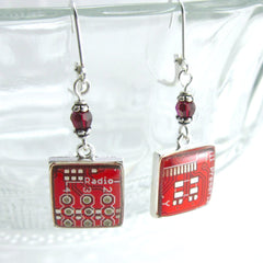 Circuit Board and Crystal Earrings — Domed Red Dangles — Techno Chic
