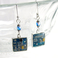 Circuit Board and Crystal Earrings — Domed Blue Dangles — Upcycled Technology