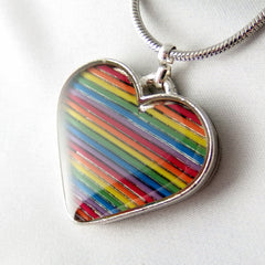 CLEARANCE Rainbow Heart Necklace — Unique Jewelry Crafted from Recycled Domed Computer Cable