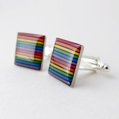 CLEARANCE Rainbow Cufflinks — Recycled Domed Computer Cable Men's Jewelry — Gay Pride Meets Geek Chic
