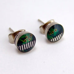 Computer Circuit Board Post Earrings — Tiny Domed Green Studs for Geek Men and Women