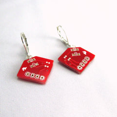 Ruby Red Diamond-Shaped Circuit Board Earrings — Petite Recycled Dangles