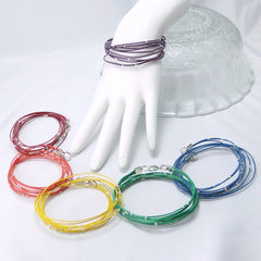 Elegant Wire and Bead Wrap Bracelet — Unique Upcycled Electronics in Red, Orange, Yellow, Green, Blue, Purple, or Black
