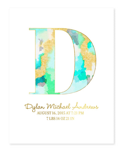 Watercolor Initial Mint