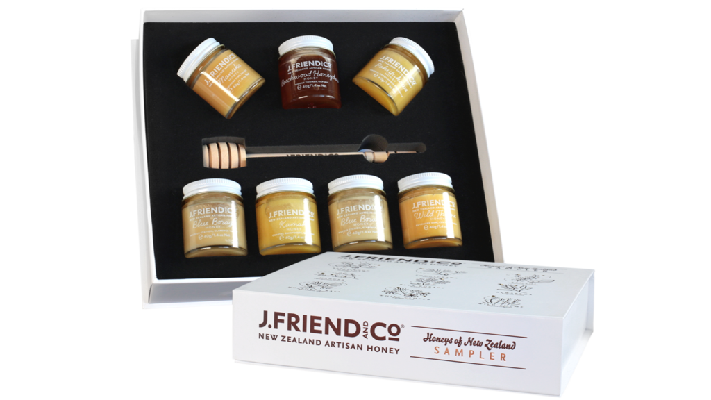 New Zealand honey sampler gift pack.