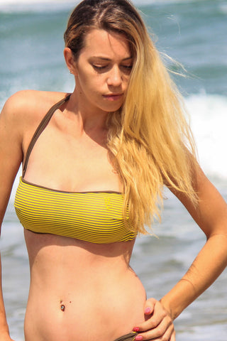 Amalfi - Yellow Stripe + Olive Reversible Bandeau Top