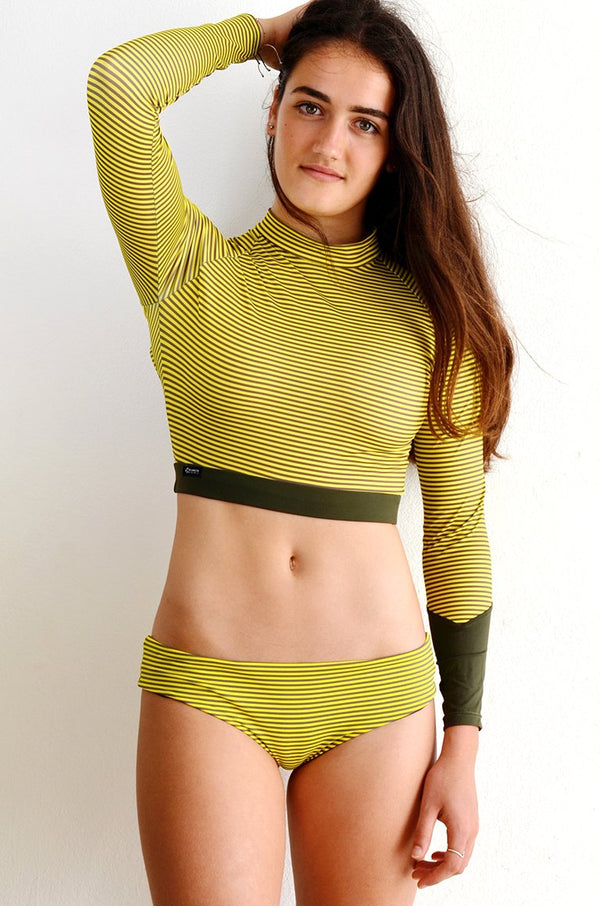 Crop Top: Olive Stripe
