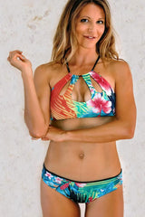Filicudi Keyhole Top: Tropical Flower