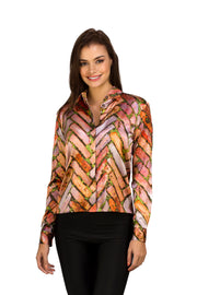 Edgy brick print silk button-up blouse