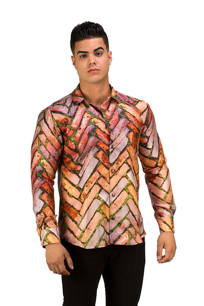 mens brick pattern button up silk shirt