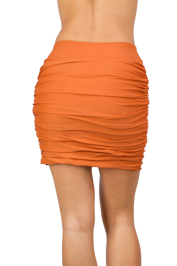 simple ruched orange pencil skirt