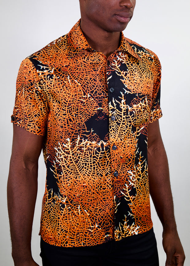 mens fire coral button-up shirt