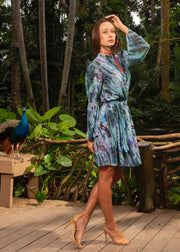 knee-length belted blouson dress