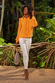 ruffle button-down delphina blouse