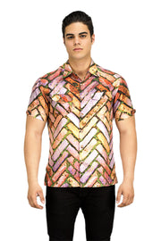 criss cross brick pattern button up men's shirt