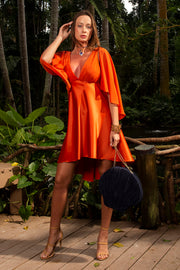 cape sleeve angelfish mini dress