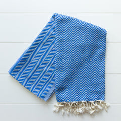 Royal blue Herringbone throw blanket