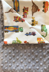 Grey Minky Dot/Trucks Receiving Blanket