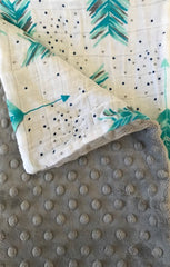 Muslin/Grey Minky Dot Receiving Blanket